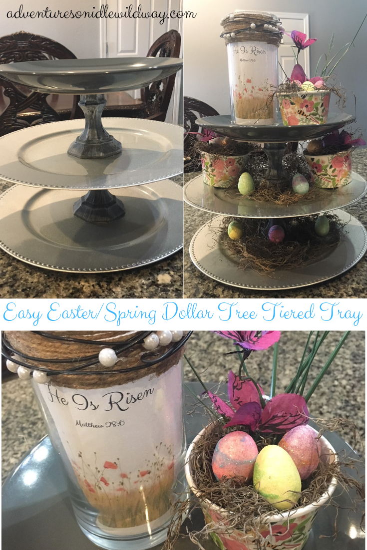 Easy Easter Spring Dollar Tree Tiered Tray